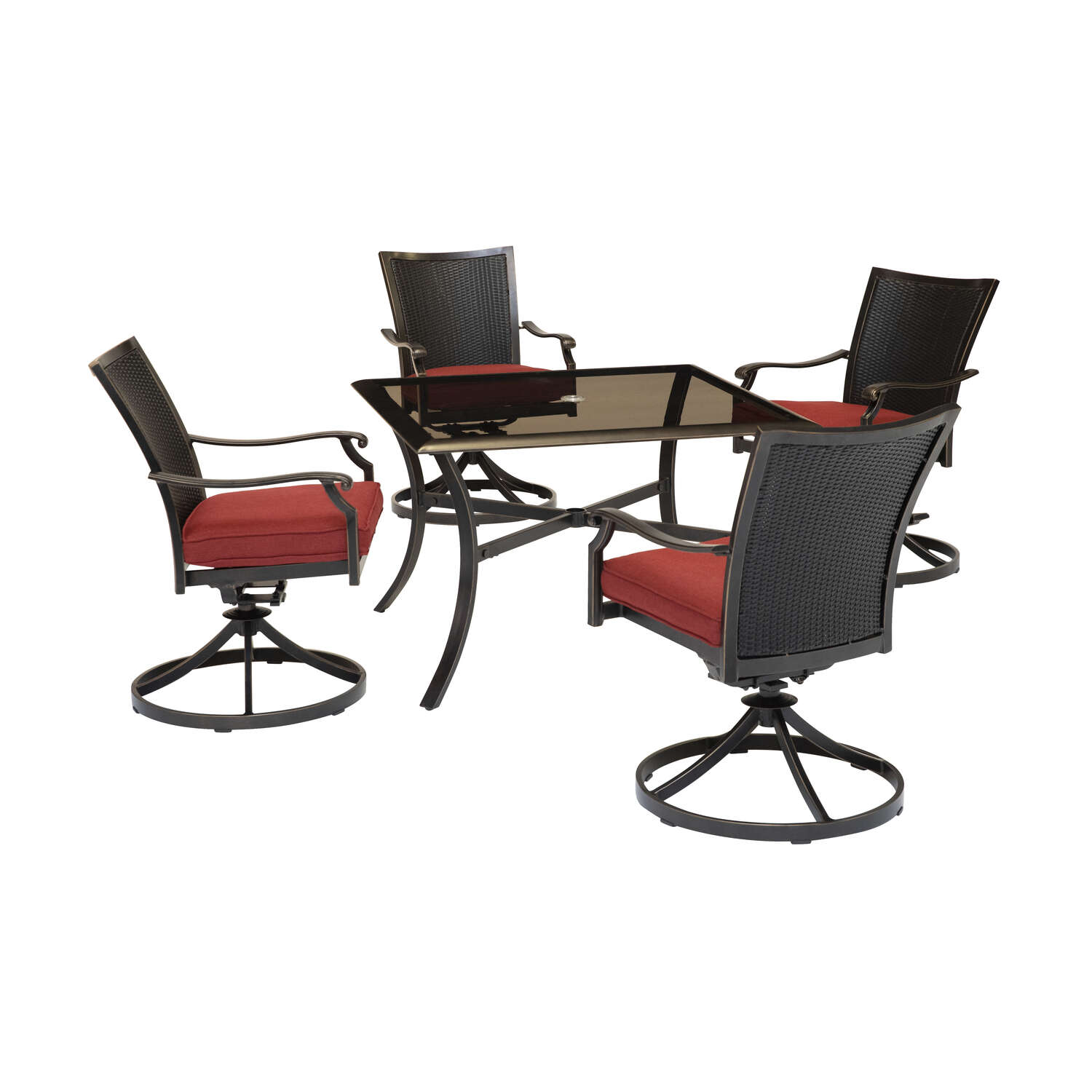 Hanover  5 pc. Bronze  Aluminum Frame Traditional  Dining Set  Red