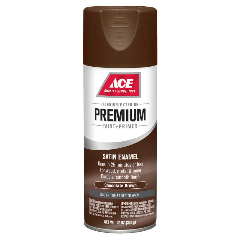 Ace  Premium  Satin  Chocolate Brown  12 oz. Enamel Spray Paint