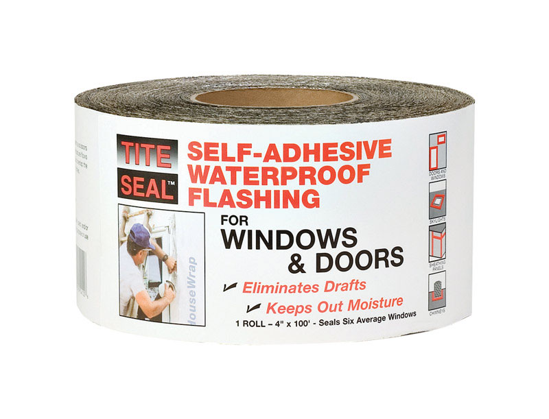 Tite Seal  4 in. H x 4 in. W x 100 ft. L Roll  Self-Adhesive Waterproof Flashing  Rubber  Silver