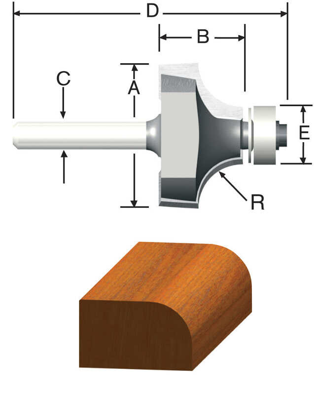 Vermont American  1 in. Dia. x 1/4 in.  x 2-3/16 in. L Carbide Tipped  Round Over  Router Bit