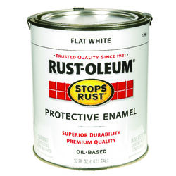 Rust-Oleum  Stops Rust  Indoor and Outdoor  Flat  White  Oil-Based  Protective Paint  1 qt.