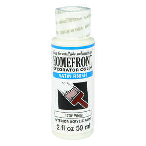 Homefront  Decorator Color  Satin  White  Paint  2 oz. Acrylic Latex