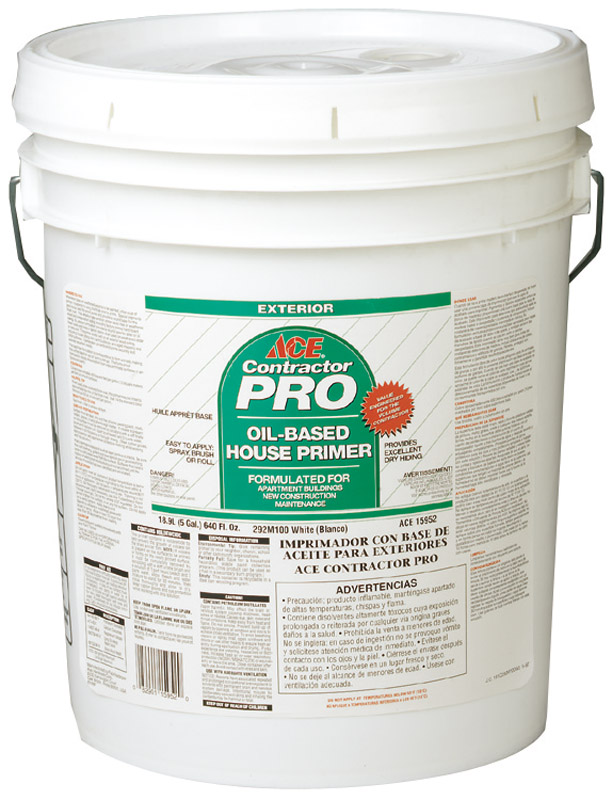Ace  Contractor Pro  Flat  White  Oil-Based  Oil Primer  For Wood 5 gal.