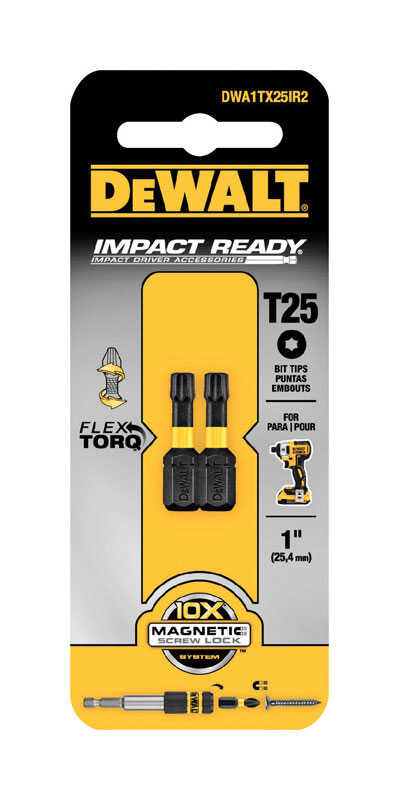DeWalt  Impact Ready  Torx  T25 in.  x 1 in. L Screwdriver Bit  Black Oxide  1/4 in. 2 pc.