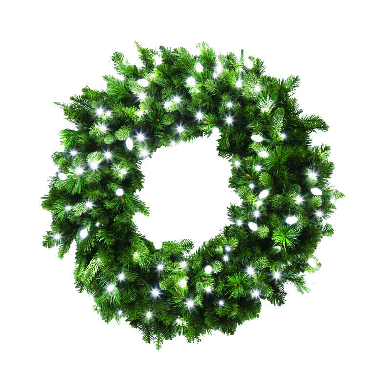 Celebrations  Prelit LED Decorated Wreath  Green  36 in. Dia. Pure White