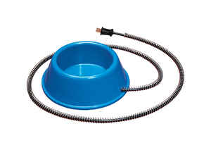 API  Blue  Plastic  32 oz. Heated Pet Bowl  For Dog