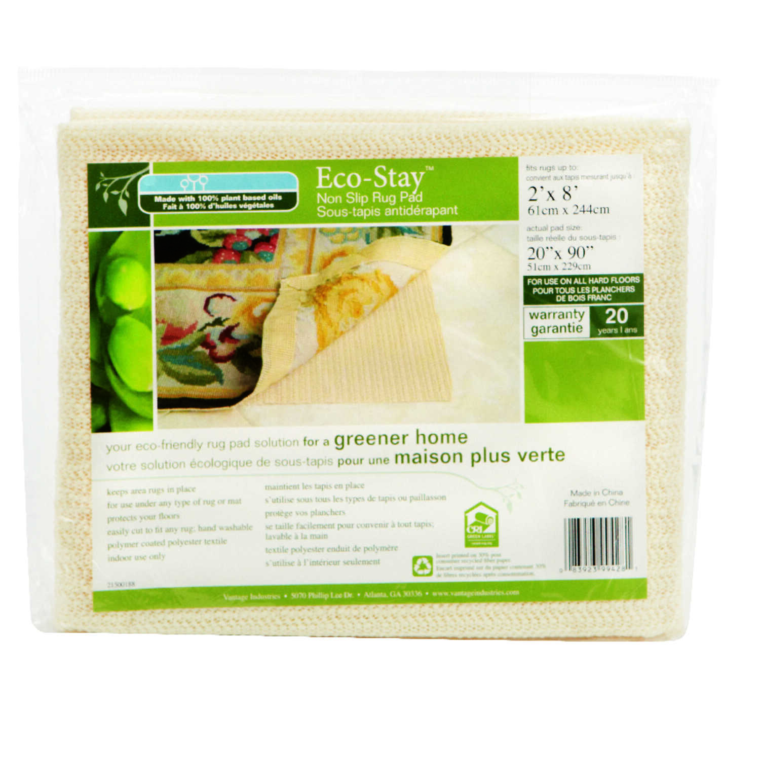 Eco Stay  8  L x 2  W Polyester  Rug Pad  Indoor 1 Pk
