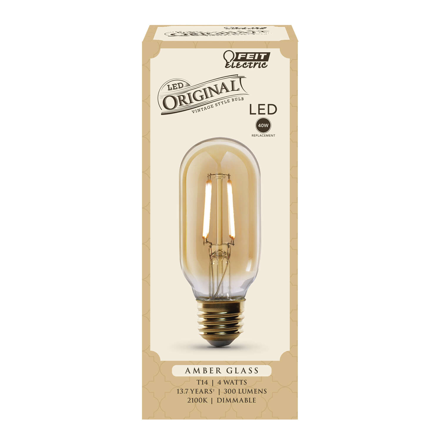Feit Electric  T14  E26 (Medium)  LED Bulb  Amber Soft White  40 Watt Equivalence 1 pk