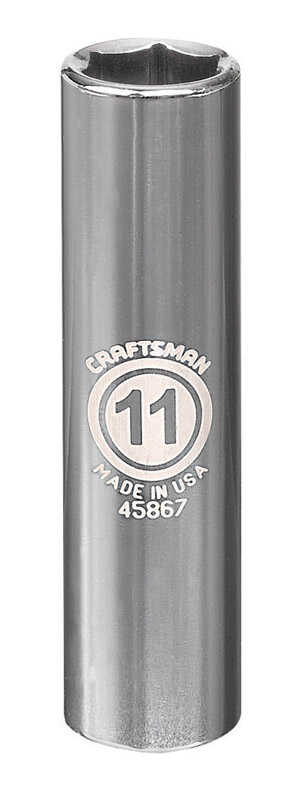 Craftsman  11 mm  x 3/8 in. drive  Metric  6 Point Deep  Socket  1 pc.