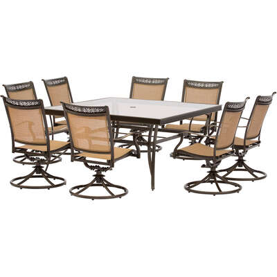 Hanover  9 pc. Brown  Aluminum  Patio Set