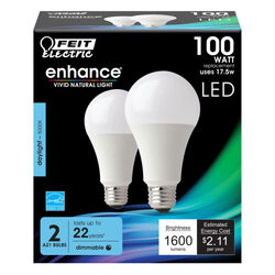 FEIT Electric  Enhance  A19  E26 (Medium)  LED Bulb  Daylight  100 Watt Equivalence 2 pk