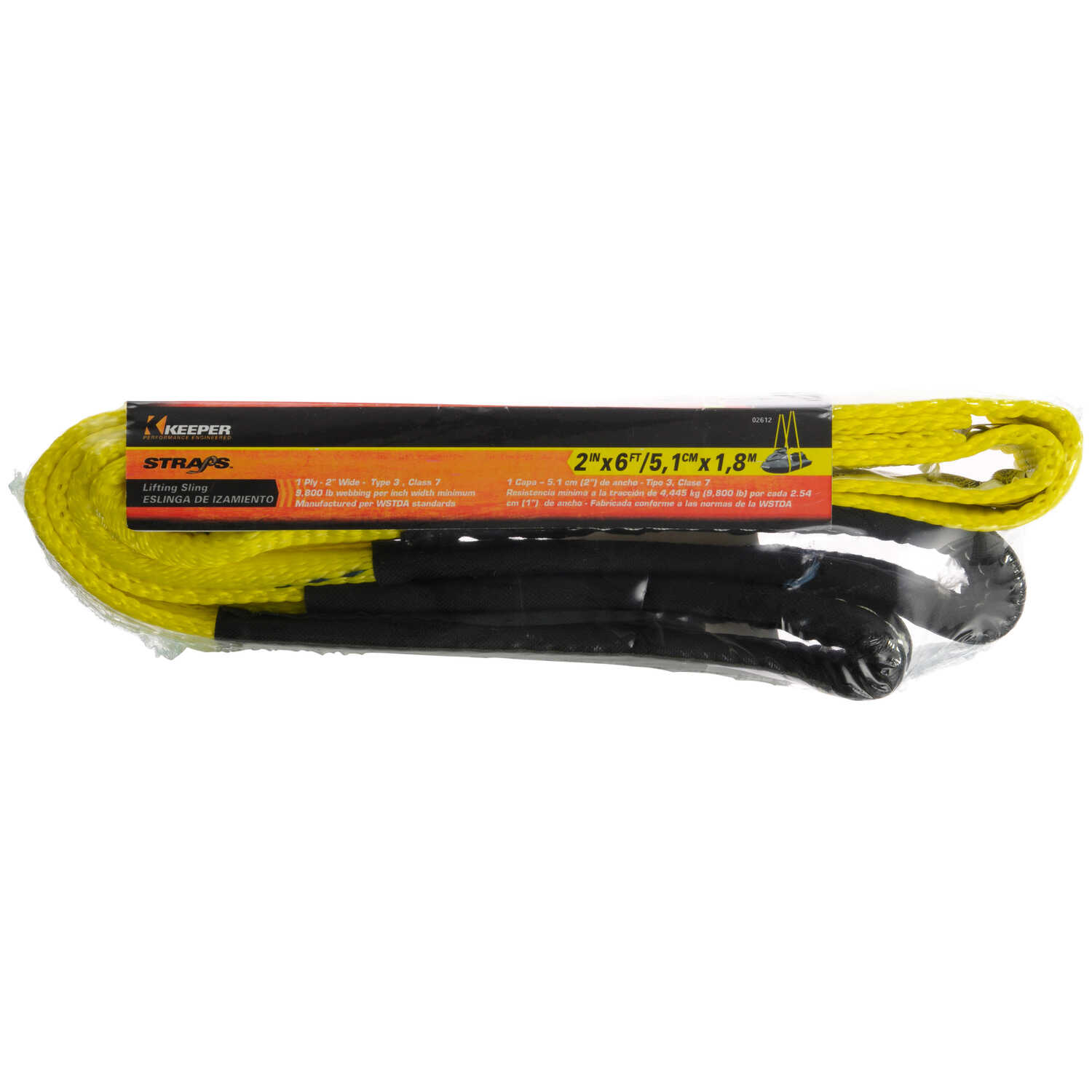 Keeper  6 ft. L Yellow  Lifting Sling  3100 lb. 1 pk