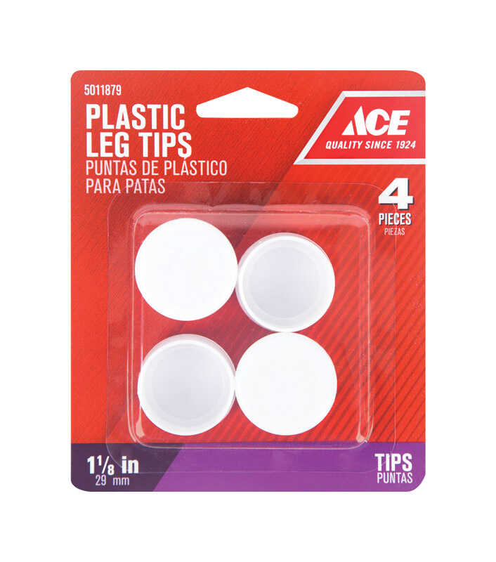 Ace  Plastic  Leg Tip  Round  1-1/8 in. W x 1-1/8 in. L 4 pk White