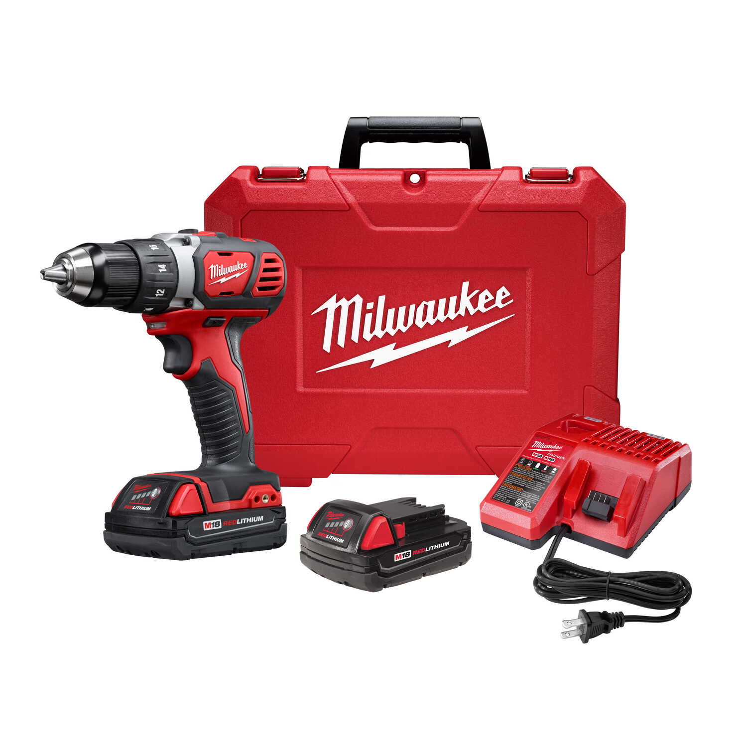 Milwaukee  M18  18 volt Brushed  Cordless Compact Drill/Driver  Kit  1/2 in. Ratcheting  1800 rpm