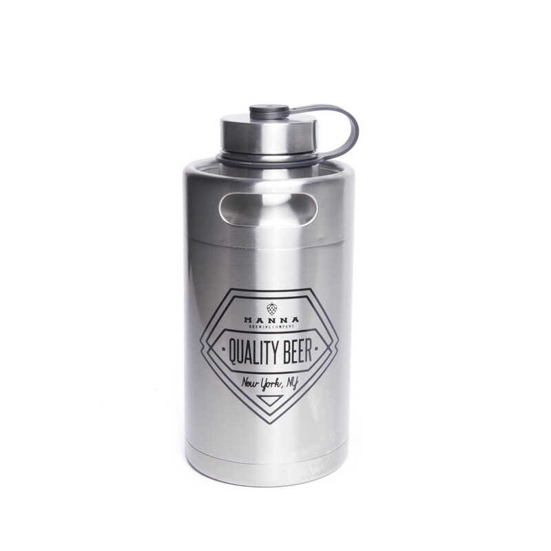 Manna 64 Oz Quality Beer Insulated Bottle Silver Ace