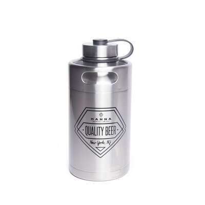 Manna  64 oz. Quality Beer  Insulated Bottle  Silver