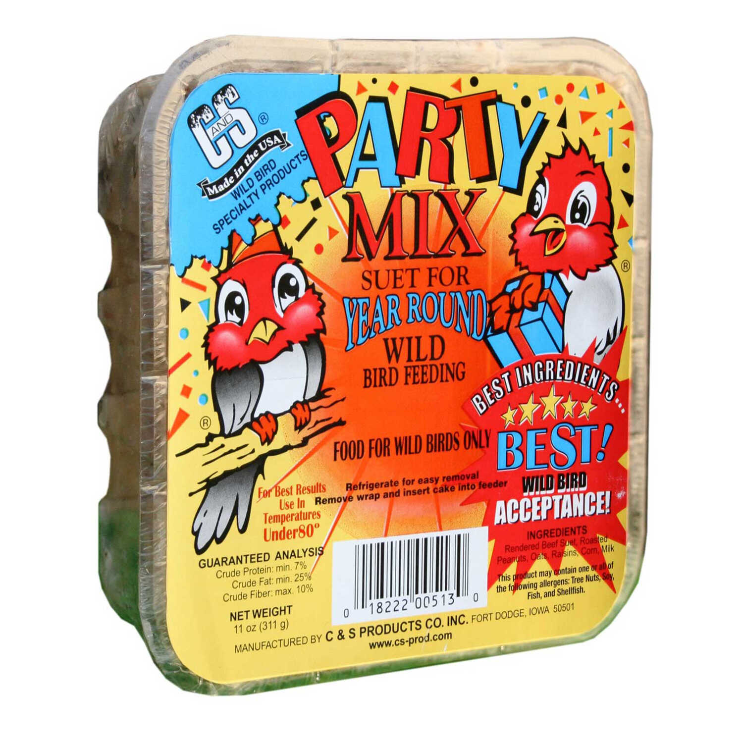 C&S Products  Party Mix  Assorted Species  Wild Bird Food  Beef Suet  11 oz.