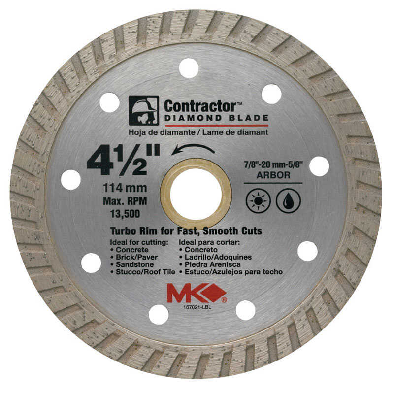 M.K. Diamond  4-1/2  Diamond  Contractor  Turbo Rim Circular Saw Blade  7/8  1 pk