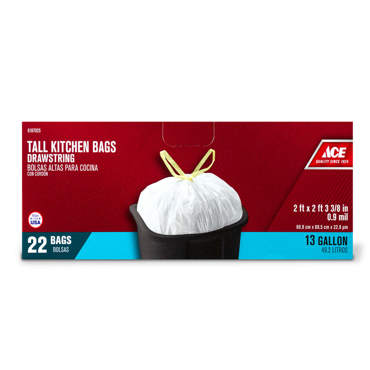 Ace 13 gal. Tall Kitchen Bags Drawstring 22 pk