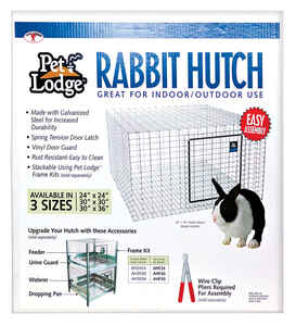Pet Lodge  Galvanized Steel  Rabbit Hutch  Silver  16 in. H x 24 in. W x 24 in. D