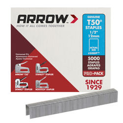 Arrow Fastener T50 3/8 in. W x 1/2 in. L 18 Ga. Flat Crown Heavy Duty Staples 5000 pk
