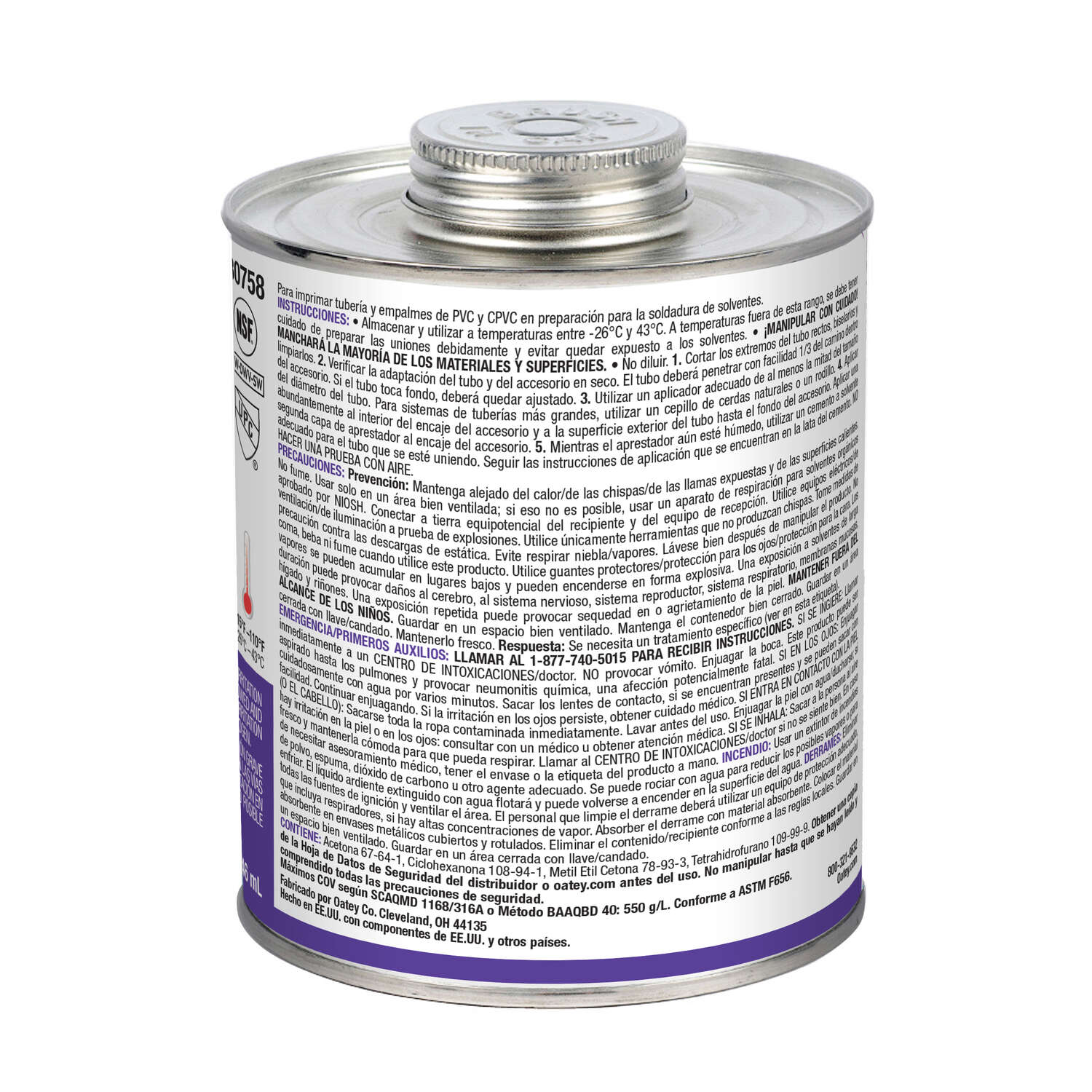Oatey  Purple  Primer and Cement  For CPVC/PVC 32 oz.