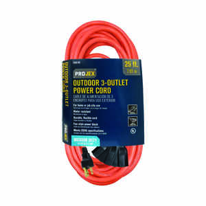 Projex  Indoor and Outdoor  25 ft. L Orange  Triple Outlet Cord  14/3 SJTW