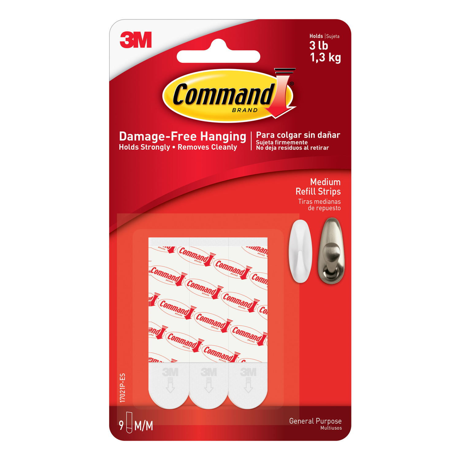 3M  Command  2 in. L Adhesive Strips  9 pk Foam  Large