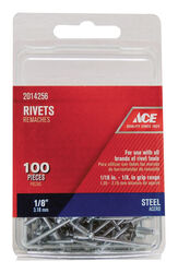 Ace  1/8 in. Dia. x 1/2 in.  Steel  Rivets  Silver  100 pk