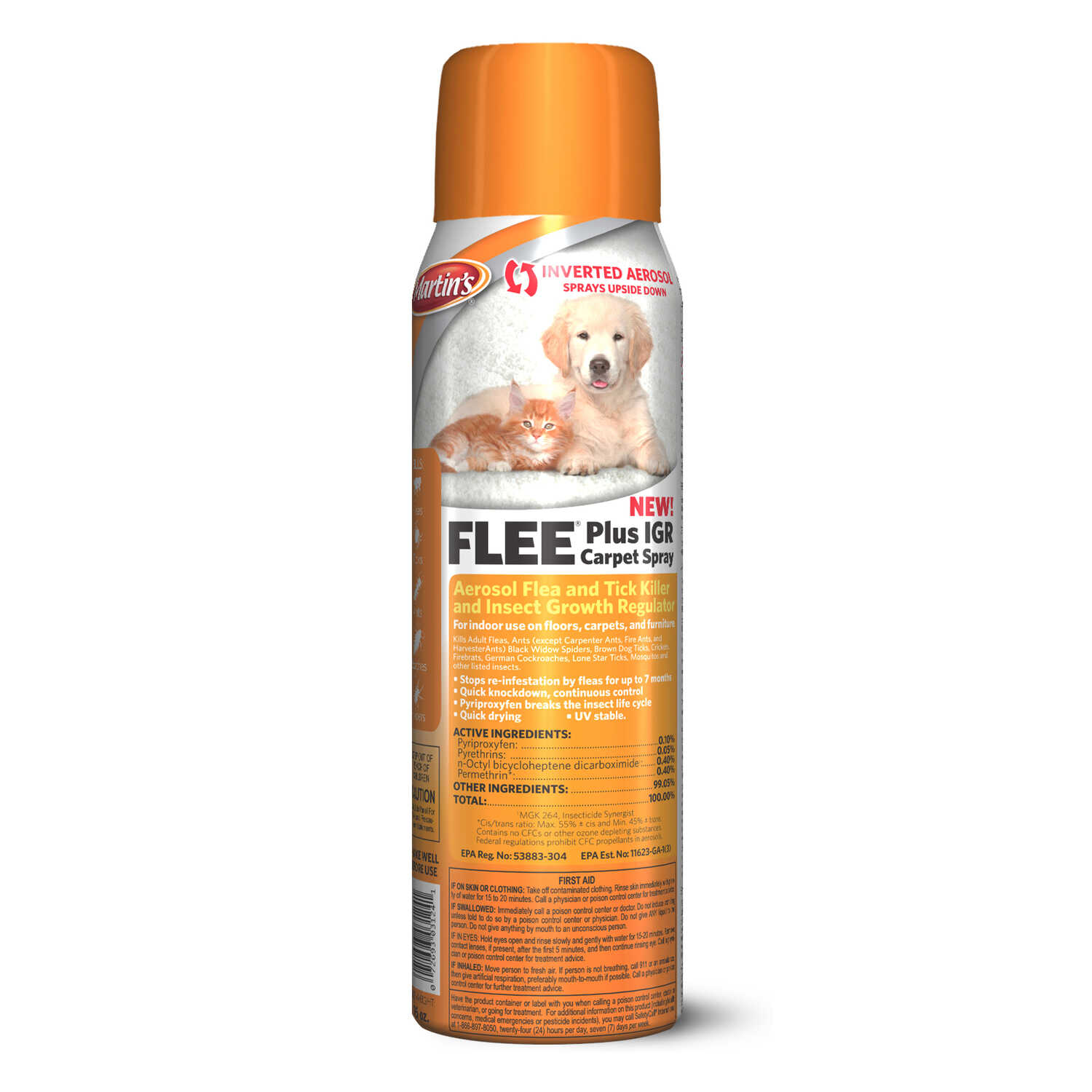 Martin's  Flee  Liquid  Cat and Dog  Flea Spray  9.8% Fibronil, 8.8% (S)-methoprene  16 oz.