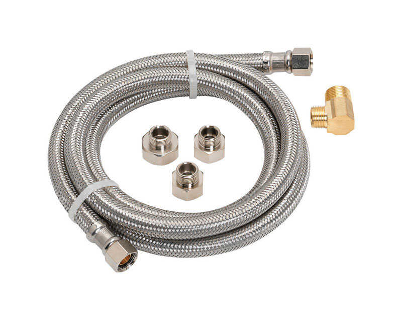 Ace  3/8  FIP  1/2  FIP  Braided Stainless Steel  60 in. L Dishwasher Supply Line