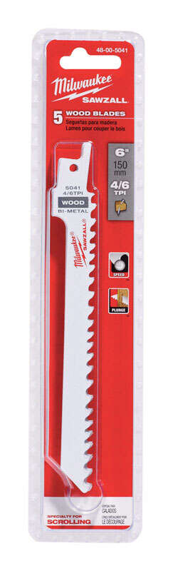 Milwaukee  SAWZALL  6 in. L x 0.5 in. W Bi-Metal  Reciprocating Saw Blade  4/6 TPI 5 pk Wood cutting