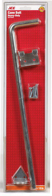 Ace  18 in. L Metallic  Zinc  Cane Bolt  1 pk