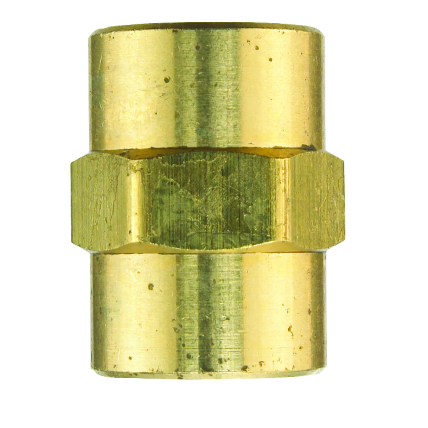 JMF  1/4 in. Dia. x 1/4 in. Dia. FPT To FPT  Yellow Brass  Coupling