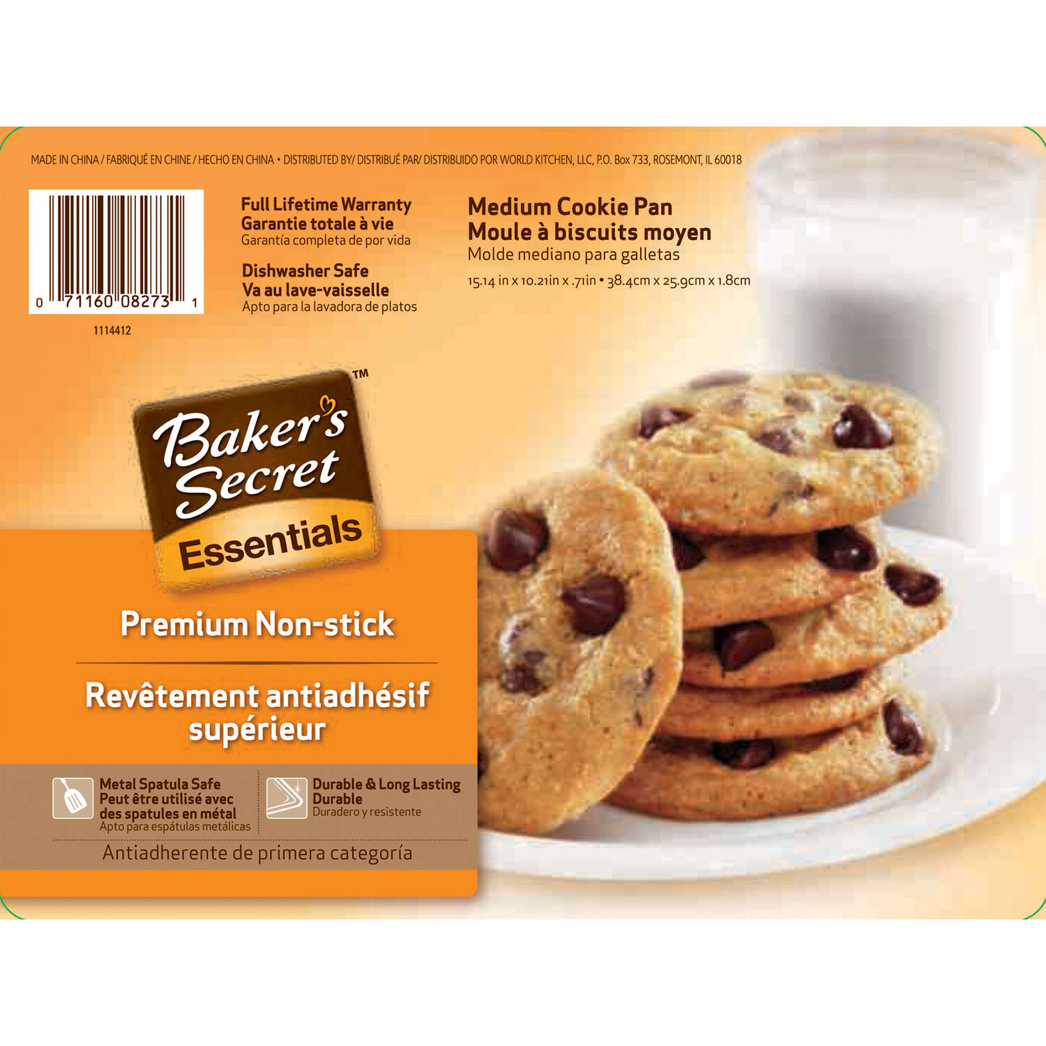 Baker's Secret  10.03 in. W x 14.98 in. L Cookie Sheet  Gray