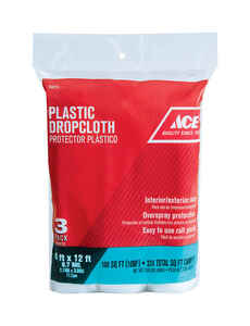 ACE  Light Weight  Plastic  Drop Cloth  12 ft. W x 9 ft. L