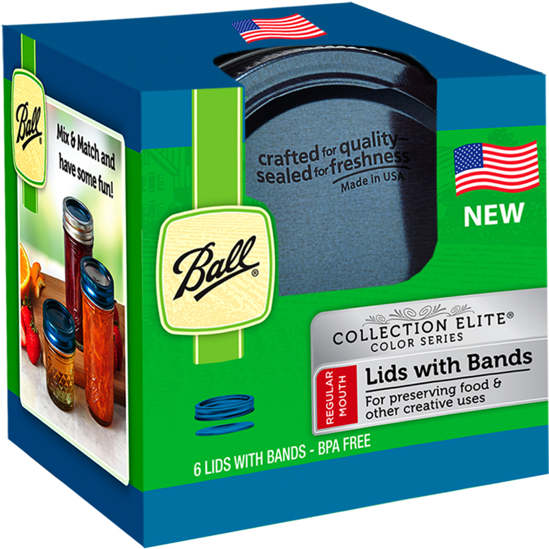 Ball  Collection Elite  Regular Mouth  Canning Lids with Rubber Rings  6 pk