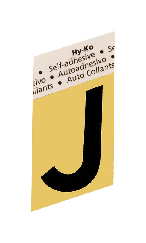 Hy-Ko  Aluminum  Black  1-1/2 in. J  Self-Adhesive  Letter