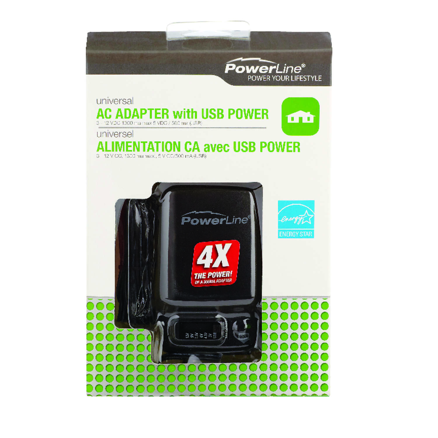 PowerLine 6 ft. L AC Adapter With USB 1 pk