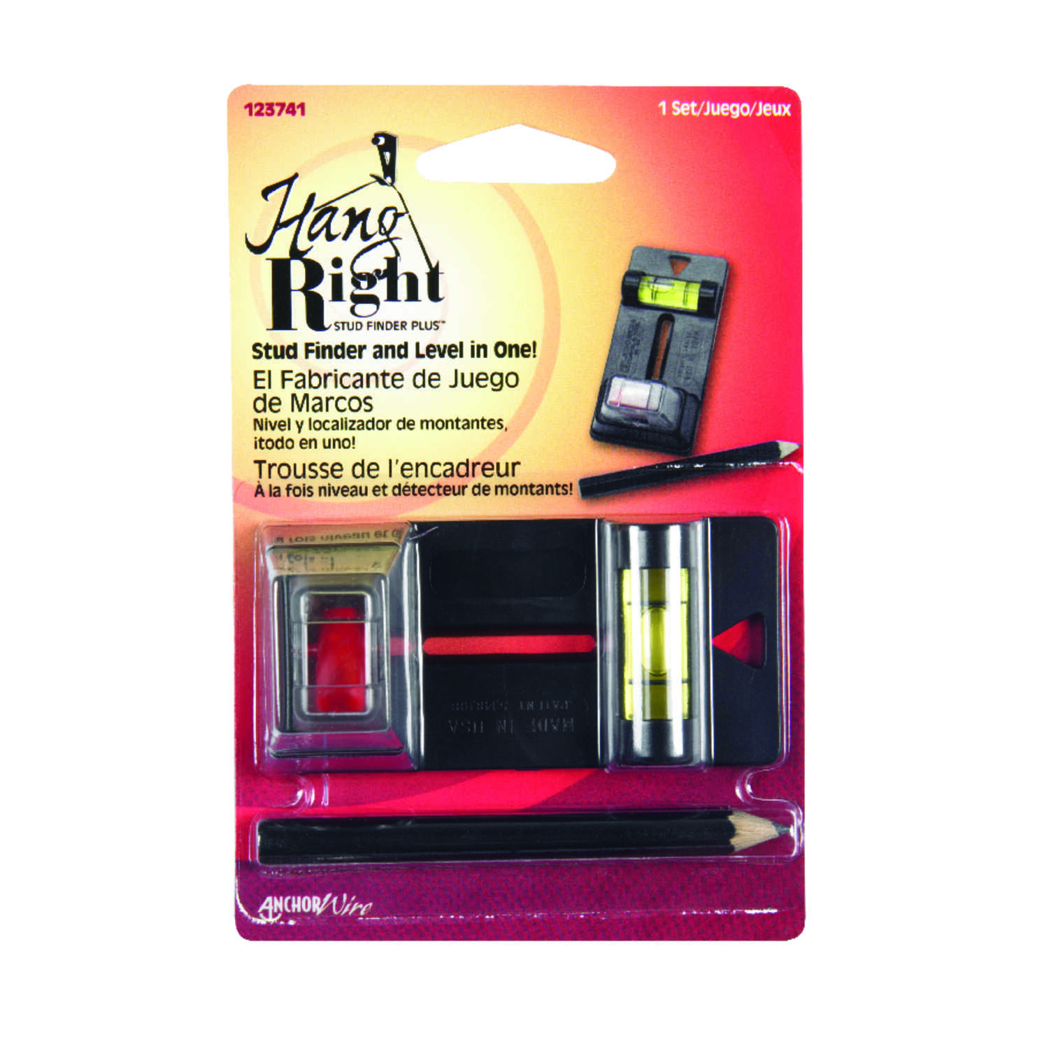 Hillman  Hang Right  Plastic Coated  Black  Plastic  Stud Finder and Level Vial  1 pk 1 lb.