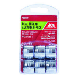 ACE  Dual Thread Aerator Adapter  15/16 in.  x 55/64 in.  Chrome