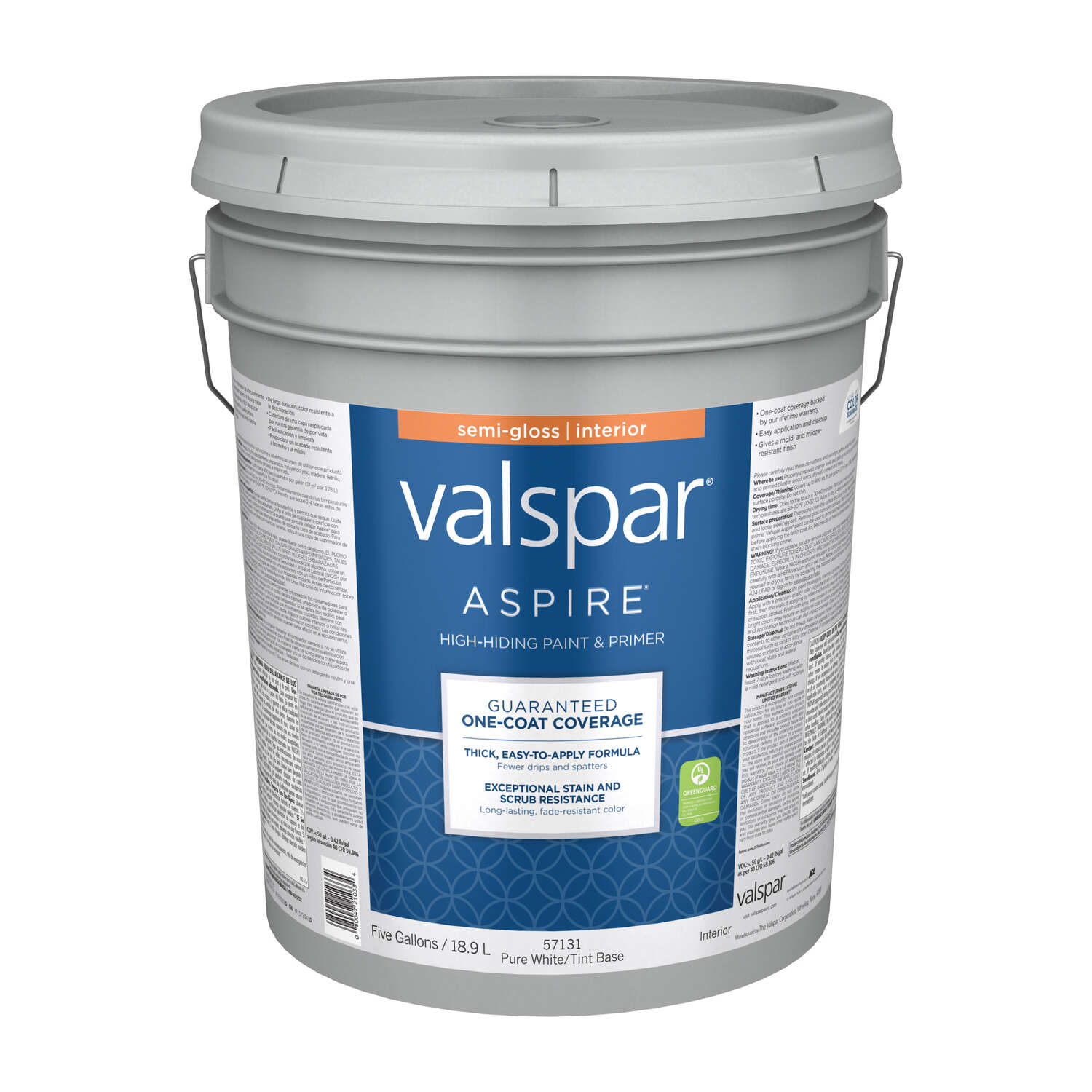 Valspar  Aspire  Semi-Gloss  Pure White Tint Base  Acylic Latex  5 gal. Paint and Primer  Tintable