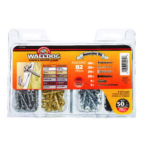 Walldog  No. 10   x 1-1/4 in. L Phillips  Pan  Chrome  Screw Kit  82 pk