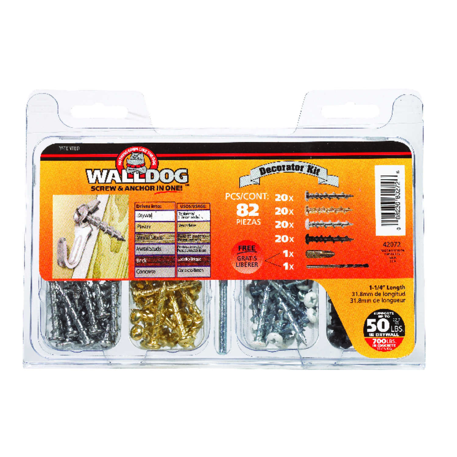 Hillman  Walldog  No. 10   x 1-1/4 in. L Phillips  Pan Head Chrome  Screw Kit  82 pk