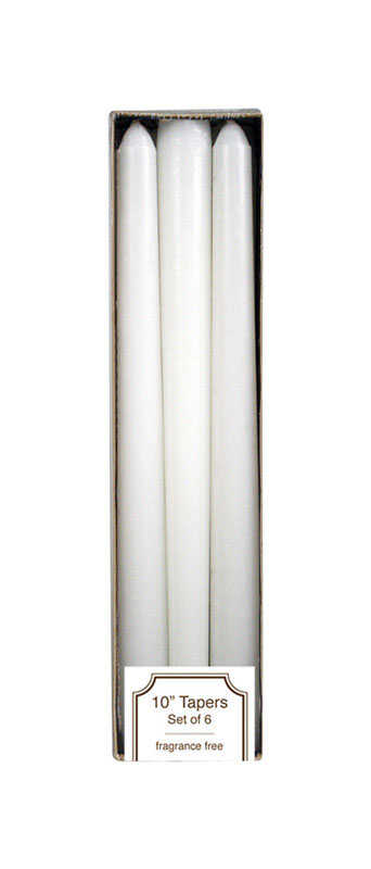 Langley Empire  White  Unscented Scent Taper  Candle  10 in. H x 3/4 in. Dia.