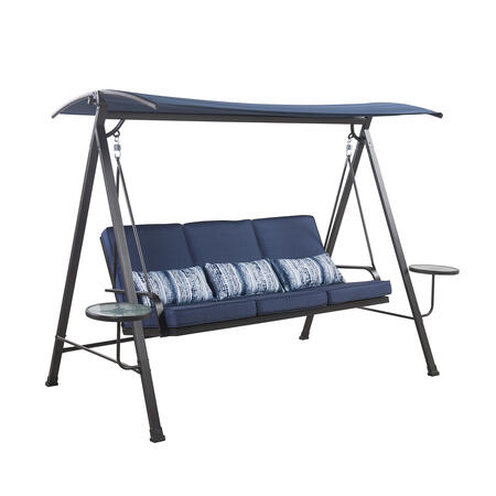 Living Accents 3 person Black Steel Frame Swing with Tables (Blue)