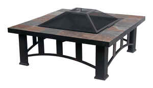 Living Accents  Slate Table Top  Wood  Fire Pit  17.5 in. H x 36 in. W x 36 in. D Steel