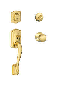 Schlage  Camelot / Plymouth  Bright Brass  Brass  Single Cylinder Handleset and Knob  1 Grade Right