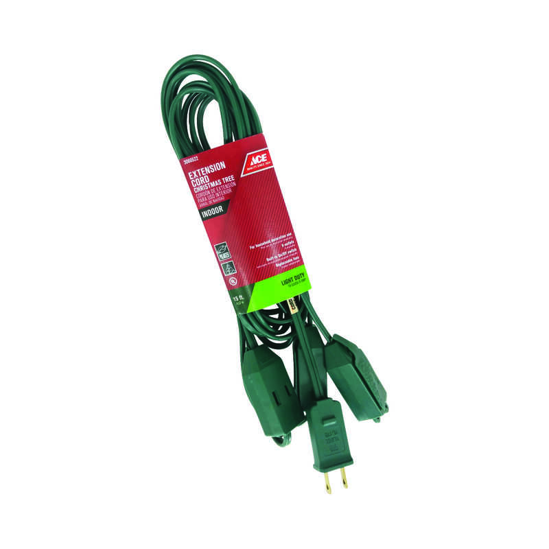 Ace  Indoor  Green  Extension Cord  18/2 SPT-2  15 ft. L