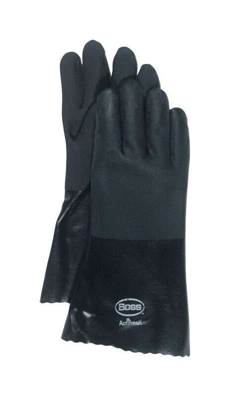 Boss  Men's  Indoor/Outdoor  PVC  Dipped  Chemical Gloves  Black  L  1 pair